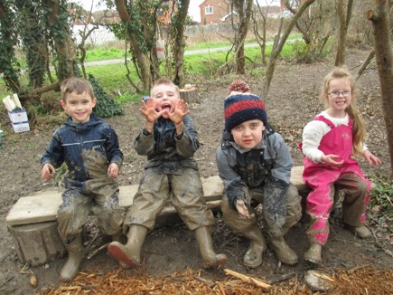 Forest School Children on Bench
